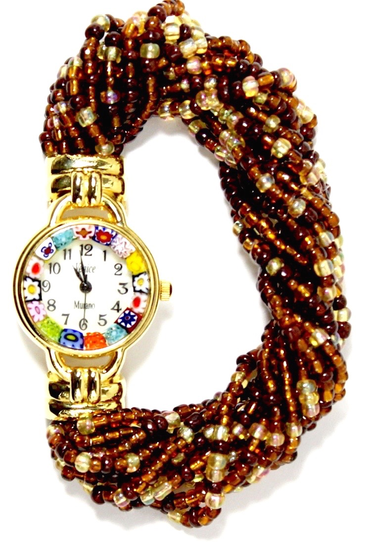 ブラウンビーズブレスレット腕時計