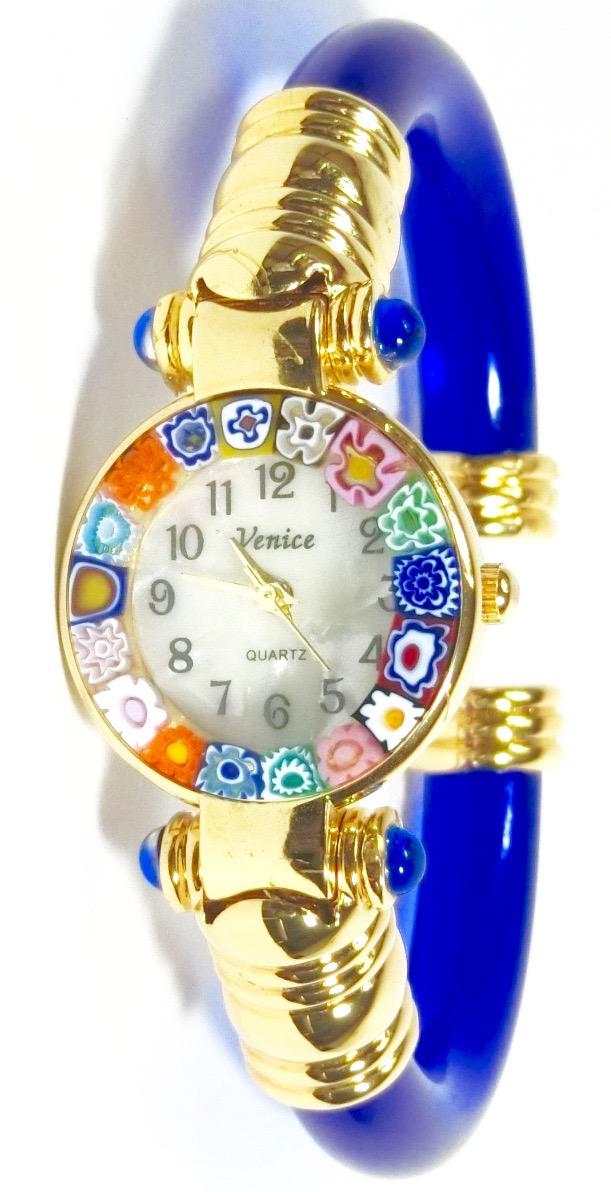 バ ングル腕時計ゴールドブルー