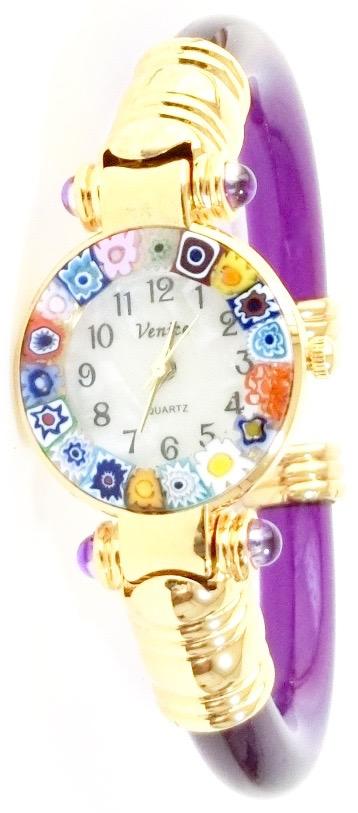 バングル腕時計ゴールドパープル