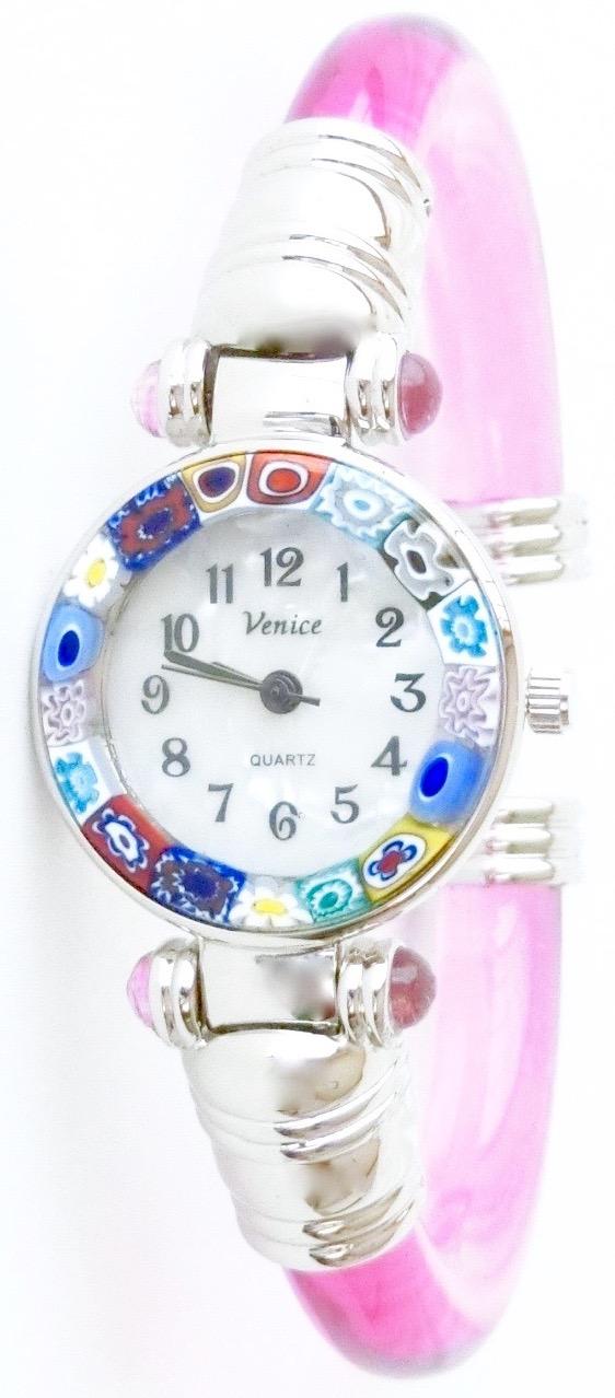 バングル腕時計シルバークリアピンク