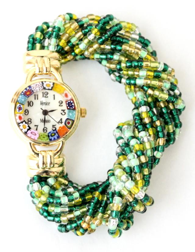グリーンビーズブレスレット腕時計