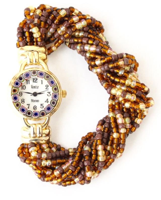 『限定品』ブラウンビーズブレスレット腕時計