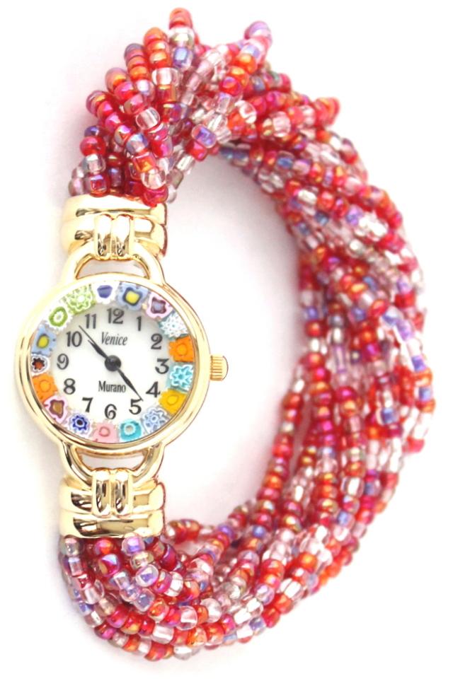 ローズビーズブレスレット腕時計