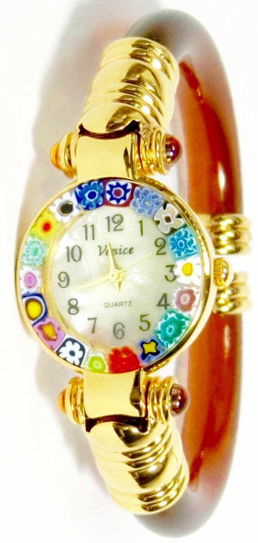 バングル腕時計ゴールドブラウン