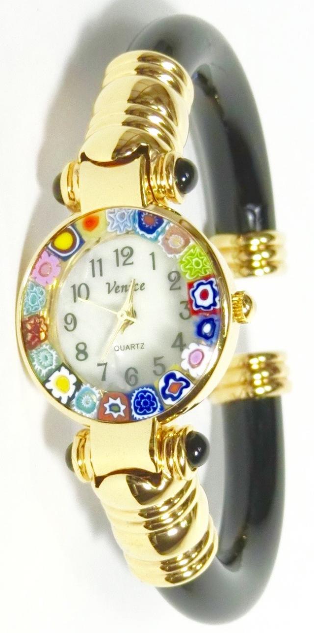 バングル腕時計ゴールドブラック