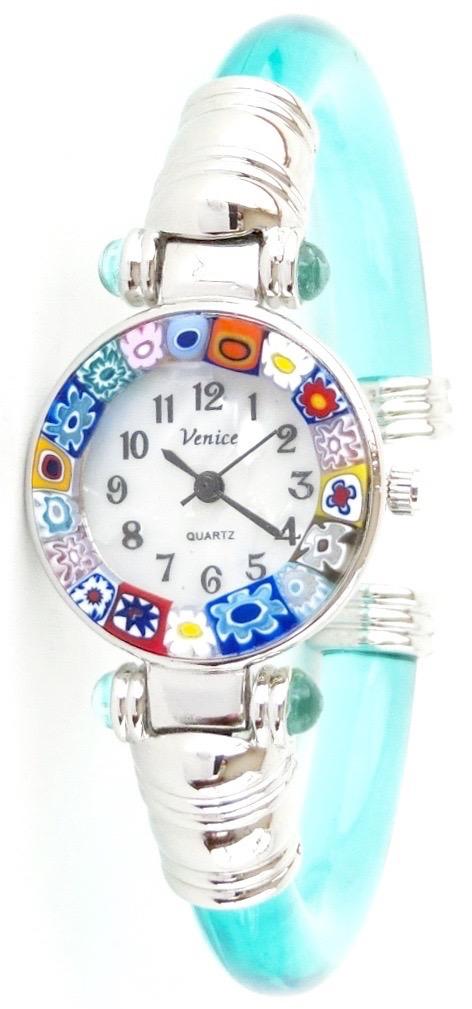 バングル腕時計シルバークリアエメラルドグリーン