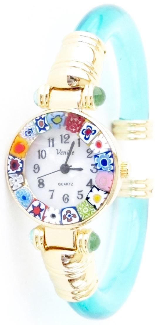 バングル腕時計ゴールド グリーン