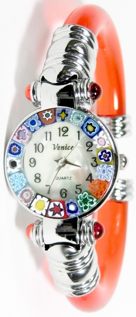 バングル腕時計シルバーオレンジ