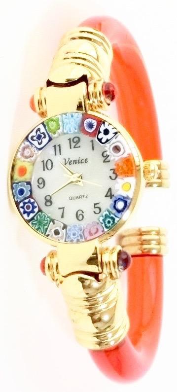 バングル腕時計ゴールドオレンジ