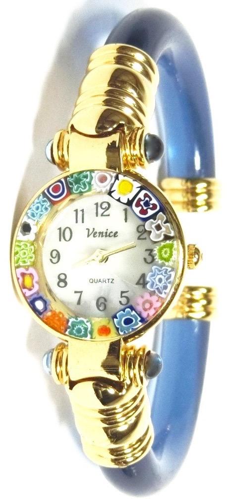 バングル腕時計ゴールドライトブルー