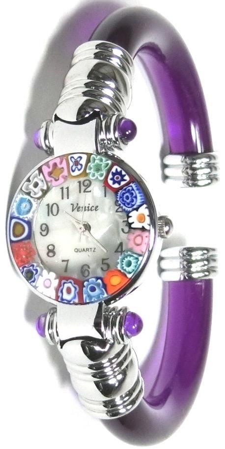 バングル腕時計シルバーパープル