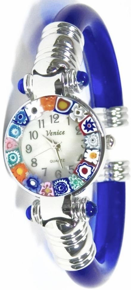 バングル腕時計シルバーブルー