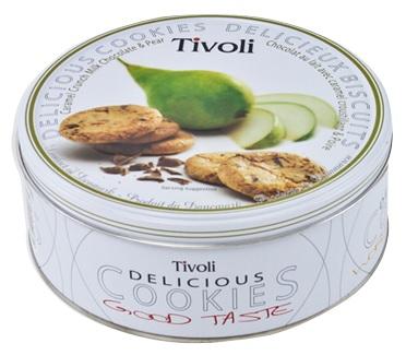 【ケース販売/24缶入】 Tivoli  キャラメルクランチミルクチョコレート&洋梨 150g[エンボス缶 焼菓子]