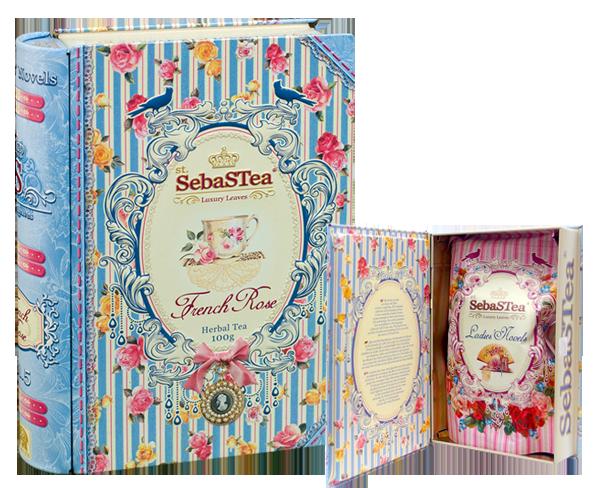 セバスティ BOOK型紅茶 【フレンチローズ】 リーフティー(ハイビスカス・ローズヒップ) 100g