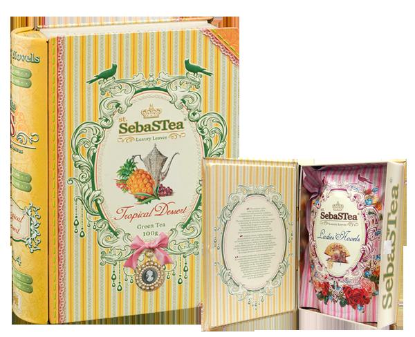 セバスティ BOOK型紅茶 【トロピカルデザート】 リーフティー(パイン・メロン) 100g