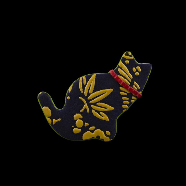【剛腕】印傳製猫ブートニエール / 宝尽くし