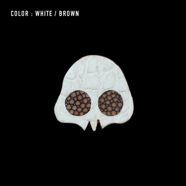 【剛腕】クロコダイル製 スカルブートニエール / ホワイト×ブラウン