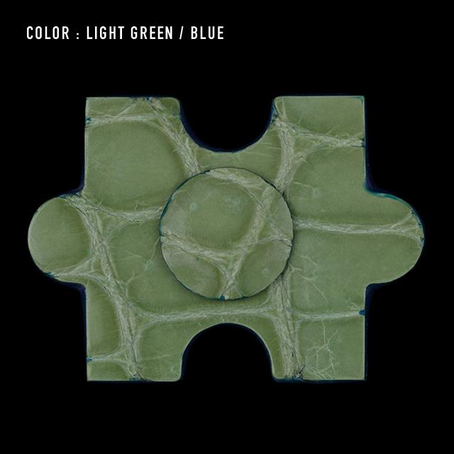 【剛腕】クロコダイル製 ジグソーパズルピース ブートニエール /ライトグリーン(コバ:ブルー)