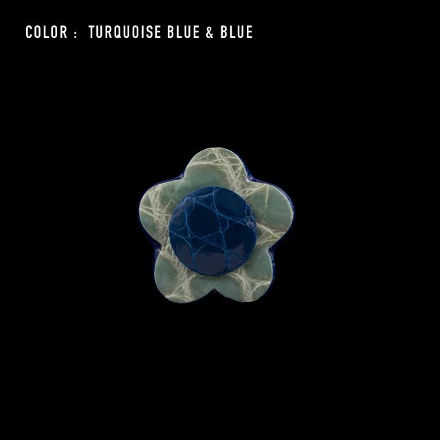 【剛腕】クロコダイル製 フラワー ブートニエール /ターコイズブルー&ブルー