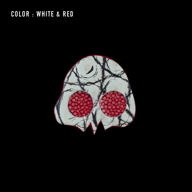 【剛腕】クロコダイル製 スカルブートニエール / ホワイト×レッド