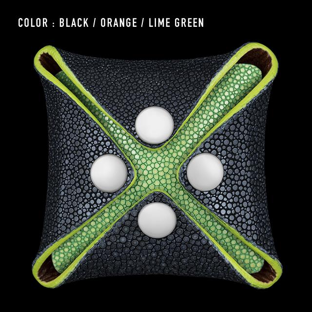 【剛腕】ガルーシャ製 コインケース /ブラック&オレンジ&ライムグリーン