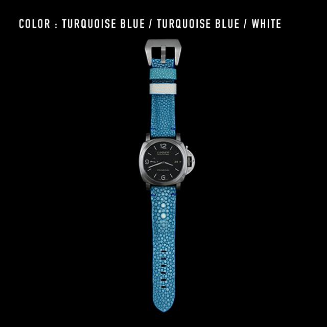 【剛腕】ガルーシャ製 シングルストラップ(PANERAI用) / 定革:ターコイズブルー 遊革:ホワイト