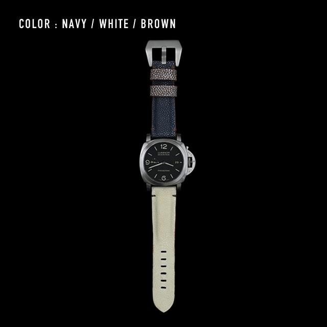 【剛腕】ガルーシャ製 シングルストラップ(PANERAI用) / ネイビー&ホワイト&ブラウン