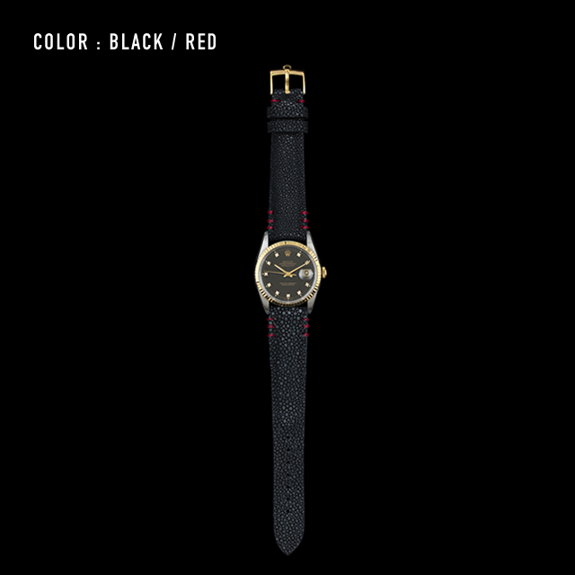 【剛腕】ガルーシャ製 シングルストラップ(ROLEX用) / ブラック(ステッチ:レッド)
