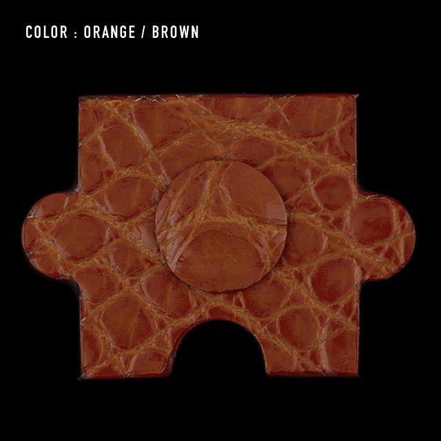 【剛腕】クロコダイル製 ジグソーパズルピース ブートニエール / オレンジ(コバ:ブラウン)