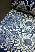 長板中形正長板中形正藍染浴衣地/菊唐草に変わり色紙・綿縮緬