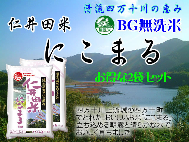 まとめてお得【送料無料】令和1年産 高知県産 BG無洗米 仁井田米にこまる5kg×2
