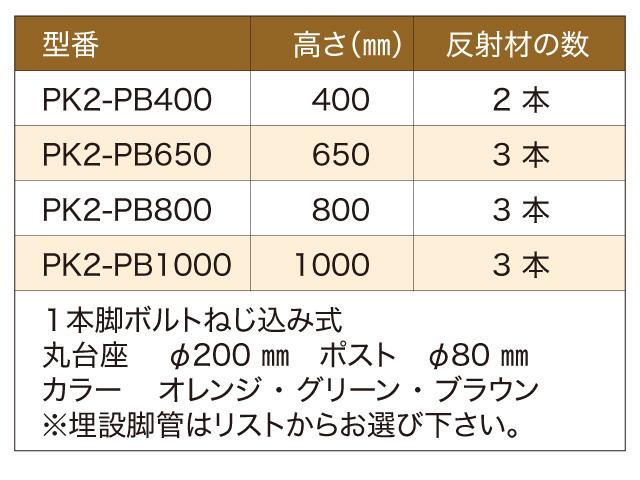 「PK-2」スタンダード着脱式台座付 型式一覧