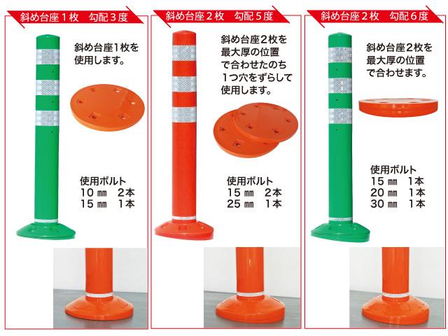 斜め台座を組み合わせることで3度、5度、6度の勾配路面に対応できます。