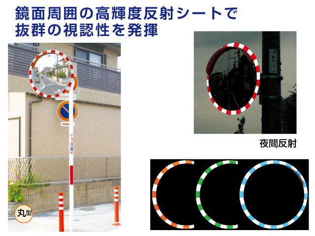 鏡面周囲の高輝度反射シートで抜群の視認性を発揮