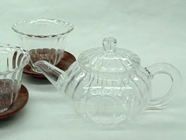 YKA-001 ガラス菊型茶壷/S きくがたちゃふう