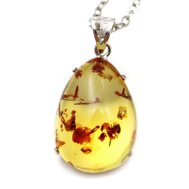 アンバー 琥珀 ペンダント メキシコ産 1点もの SILVER925 天然こはく コハク 天然石 パワーストーン