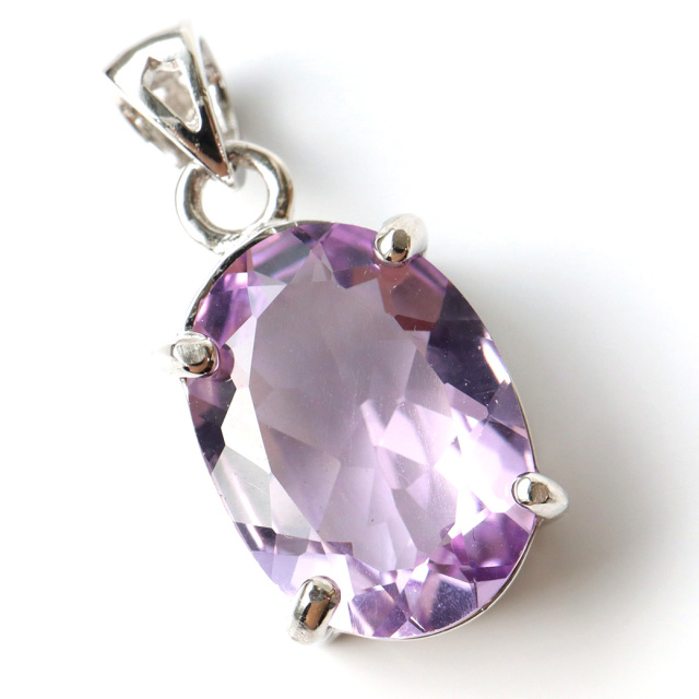 アメジスト ペンダント 宝石質 Silver925 ティアドロップ しずく 2月 誕生石 天然石 1点物
