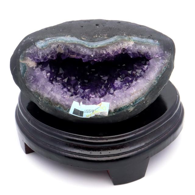 アメジスト ドーム 約1.55kg 小型 卓上サイズ 紫水晶 ジオード 晶洞 天然石 ウルグアイ産 1点物 台座付き 濃紫