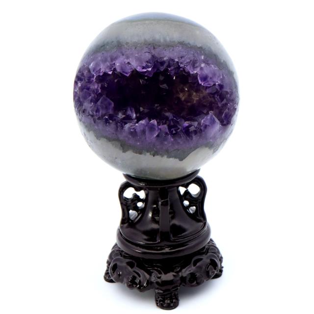 アメジスト 笑口 丸玉 台座付き ジオード 1点もの 天然石 紫水晶 パワーストーン ウルグアイ産