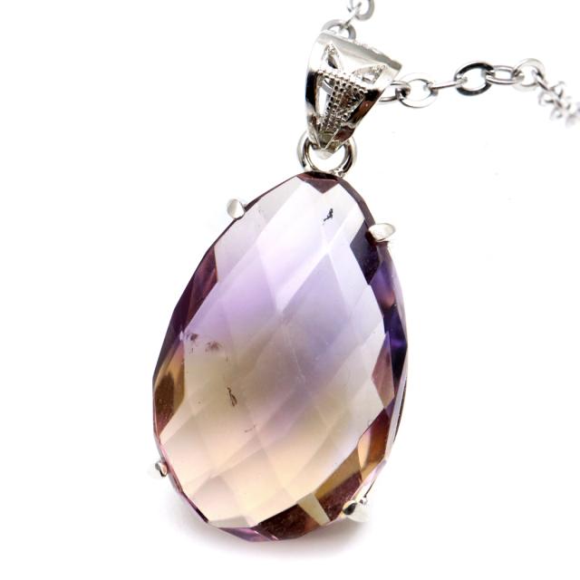アメトリン 紫黄水晶 ネックレス しずく ドロップ ファセットカット 天然石 ペンダント Silver925 パワーストーン 1点物