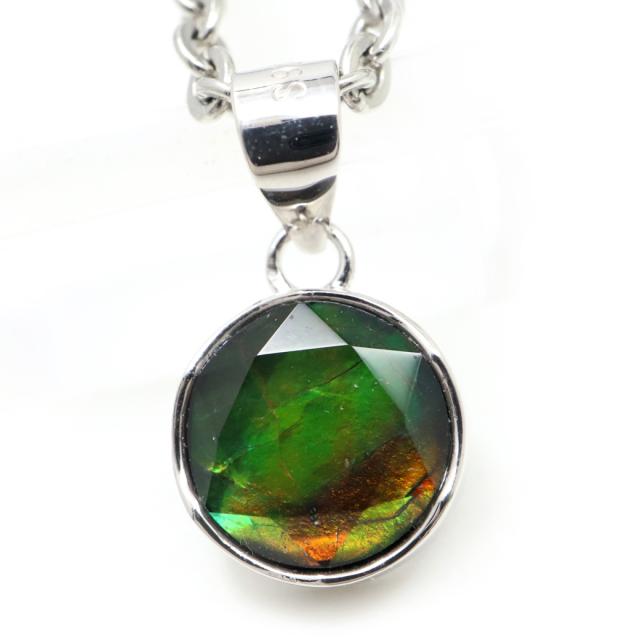 アンモライト ネックレス 天然石 ペンダント Silver925 生物起源の宝石 カナダ産 1点もの 敬老の日 プレゼント