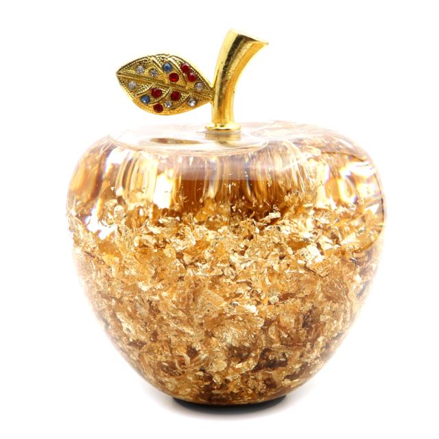 黄金のリンゴ 置き物 金箔入り 縁起物 林檎 アップル 箱付き 風水 幸福 幸運