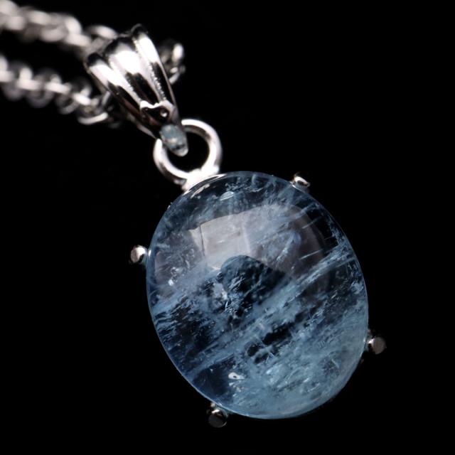 アクアマリン ペンダント 天然石 ネックレス 高品質 Silver925 1点物 3月 誕生石 藍柱石 ベリル