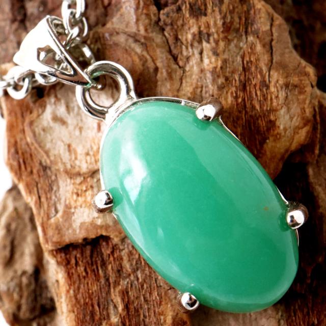クリソプレーズ ネックレス レディース メンズ アップルグリーン 緑玉髄 1点もの 天然石 パワーストーン