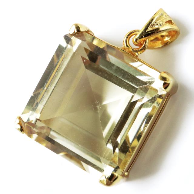 シトリン ネックレス 宝石質 スクエアカット 1点物 天然石 SILVER925 18金仕上げ