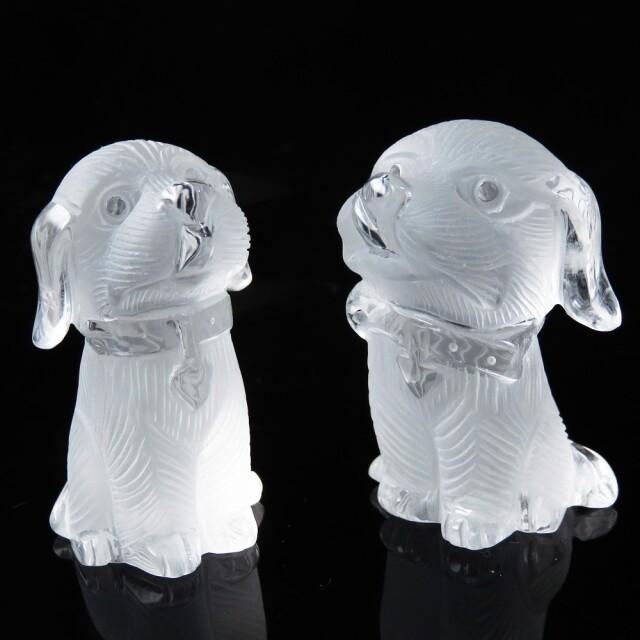 天然 水晶 犬 彫刻 置き物ドッグ ペア 天然石 オブジェ パワーストーン インテリア おしゃれ