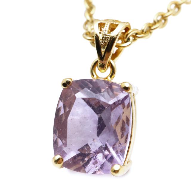 フローライト ペンダント 宝石質 パープル 紫 スクエア 天然石 ネックレス Silver925 1点物 蛍石