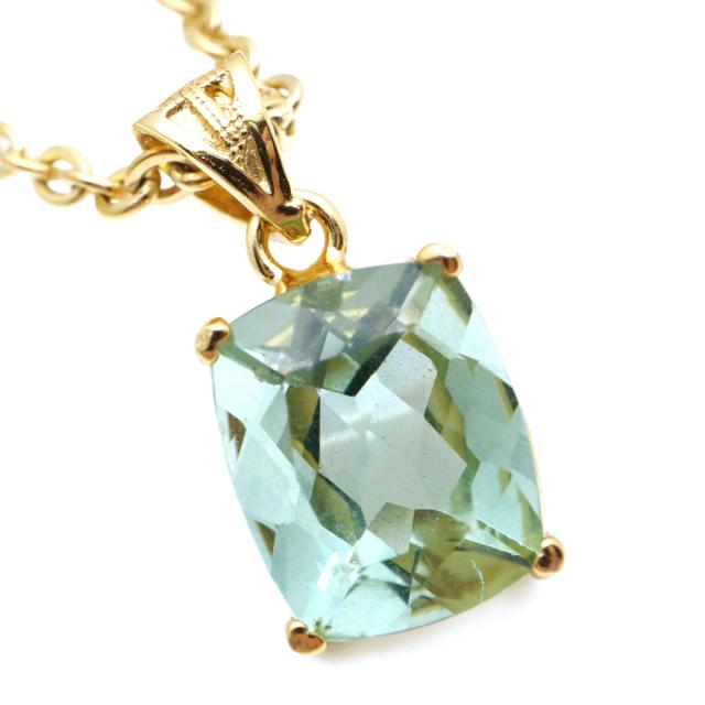 フローライト ペンダント 宝石質 グリーン スクエア 天然石 ネックレス Silver925 1点物 蛍石