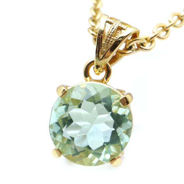 フローライト ペンダント 宝石質 グリーン ラウンド 天然石 ネックレス Silver925 1点物 蛍石