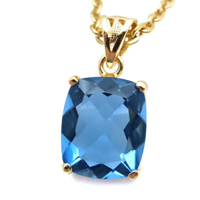 フローライト ペンダント 宝石質 ブルー 青 スクエア 天然石 ネックレス Silver925 1点物 蛍石